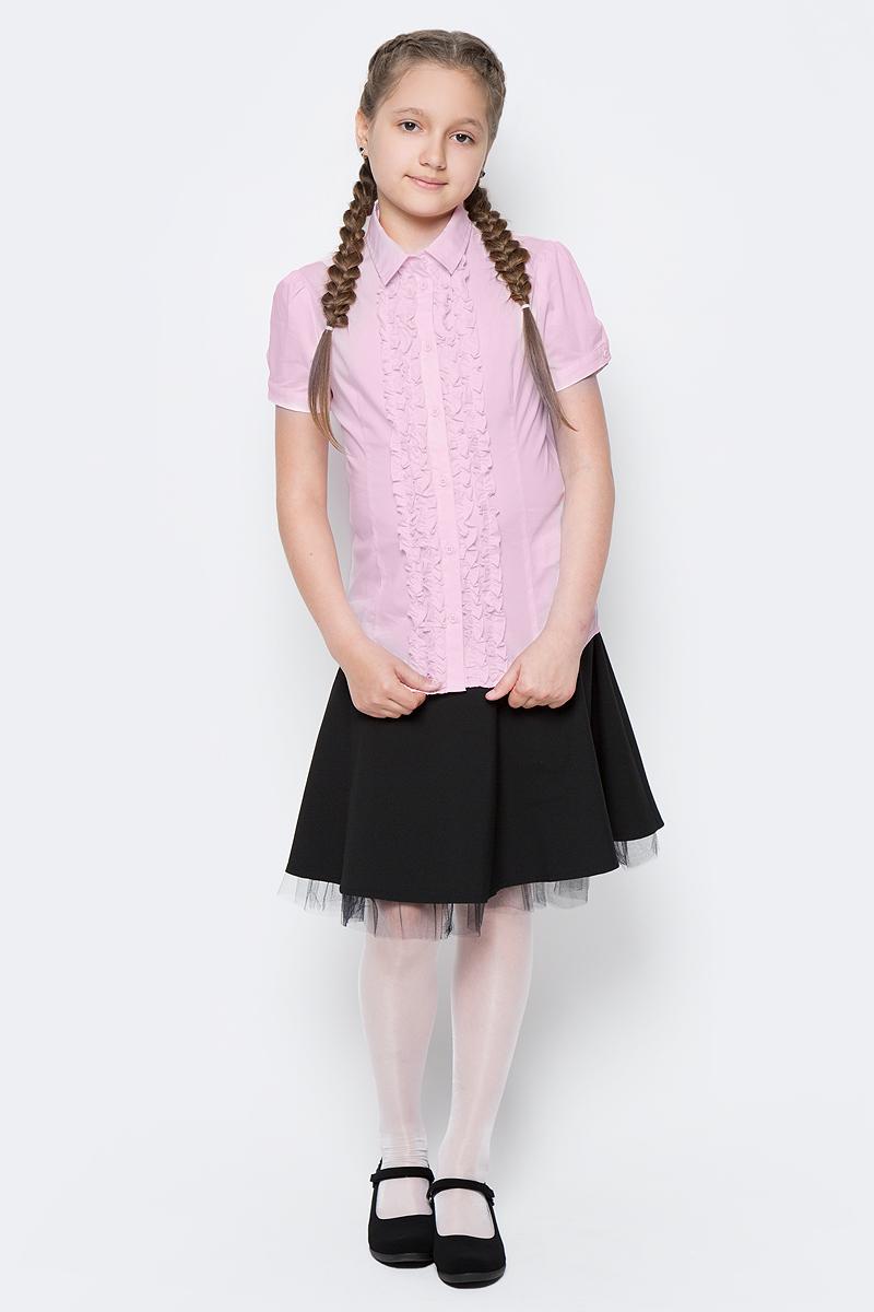 Блузка для девочки Button Blue, цвет: розовый. 217BBGS22061200. Размер 152, 12 лет217BBGS22061200Блузки для школы купить не сложно, но выбрать модель, сочетающую прекрасный состав, элегантный дизайн, привлекательную цену, не так уж и легко. Купить красивую школьную блузку для девочки недорого возможно, если это блузка от Button Blue! Не откладывайте покупку! Нарядная школьная блузка с коротким рукавом понадобится 1 сентября как никогда, придав образу торжественность и элегантность. Блузка изготовлена из качественной смесовой ткани. Модель с отложным воротником застегивается на пуговицы.