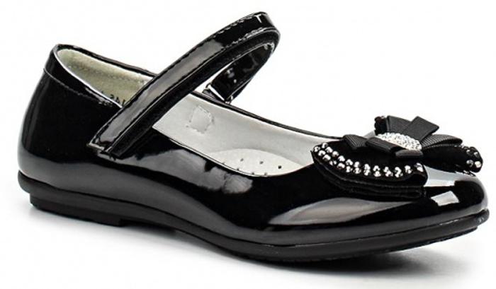 Туфли для девочки Зебра, цвет: черный. 11145-1. Размер 2811145-1Стильные туфли для девочки Зебра гарантируют здоровое и правильное развитие ног ребенка.Модель выполнена из лакированной искусственной кожи и оформлена бантиком с декоративными элементами. Внутренняя отделка выполнена из натуральной кожи. Туфли имеют внутреннюю форму, которая соответствует анатомическому строению стопы ребенка, что гарантирует комфортное положение ноги и обеспечивает условия, необходимые для ее роста и нормального функционирования. Удобная застежка-липучка быстро и надежно фиксирует обувь на ноге ребенка, а формованный жесткий задник, плотно охватывающий пятку, обеспечивает правильную установку стопы внутри туфель, предотвращая развитие деформаций.Стелька с супинатором, изготовленная из натуральной кожи, учитывает анатомические особенности строения детской стопы, обеспечивает им наилучшую защиту и профилактику от развития плоскостопия, гарантирует ногам ребенка ощущение комфорта и легкости при ходьбе, уменьшает усталость мышц и связок.Рифленая подошва туфель из легкого полимерного термопластичного материала обладает высокой прочностью, гибкостью, надежным сцеплением с различными покрытиями, не пачкает полы и оставляет следов и полос.