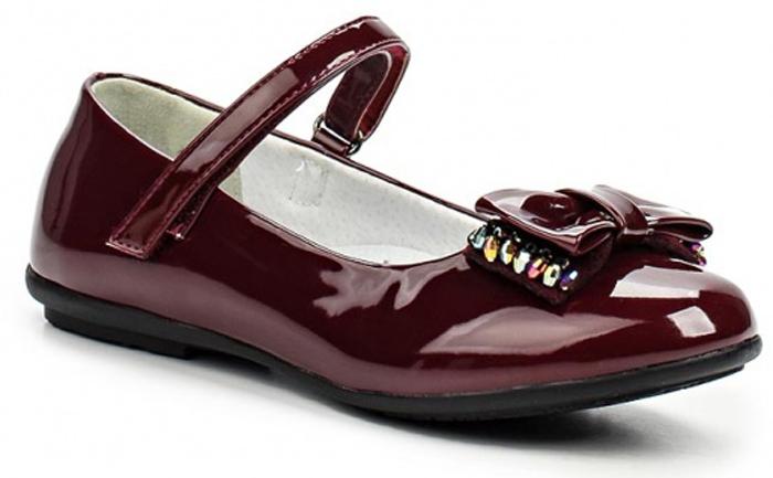 Туфли для девочки Зебра, цвет: бордовый. 11146-7. Размер 2911146-7Стильные туфли для девочки Зебра гарантируют здоровое и правильное развитие ног ребенка.Модель выполнена из лакированной искусственной кожи и оформлена бантиком с декоративными элементами. Внутренняя отделка выполнена из натуральной кожи. Туфли имеют внутреннюю форму, которая соответствует анатомическому строению стопы ребенка, что гарантирует комфортное положение ноги и обеспечивает условия, необходимые для ее роста и нормального функционирования. Удобная застежка-липучка быстро и надежно фиксирует обувь на ноге ребенка, а формованный жесткий задник, плотно охватывающий пятку, обеспечивает правильную установку стопы внутри туфель, предотвращая развитие деформаций.Стелька с супинатором, изготовленная из натуральной кожи, учитывает анатомические особенности строения детской стопы, обеспечивает им наилучшую защиту и профилактику от развития плоскостопия, гарантирует ногам ребенка ощущение комфорта и легкости при ходьбе, уменьшает усталость мышц и связок.Рифленая подошва туфель из легкого полимерного термопластичного материала обладает высокой прочностью, гибкостью, надежным сцеплением с различными покрытиями, не пачкает полы и оставляет следов и полос.