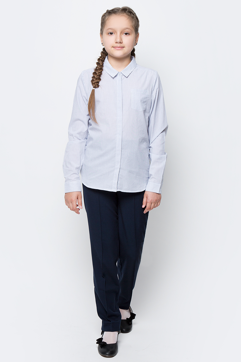 Рубашка для девочки Sela, цвет: темно-синий, белый. B-612/845-7151. Размер 146, 11 летB-612/845-7151Рубашка для девочки Sela выполнена из натурального хлопка. Рубашка с длинными рукавами и отложным воротником застегивается на пуговицы спереди. Манжеты рукавов также застегиваются на пуговицы. Рубашка оформлена принтом в полоску. На груди расположен накладной карман.