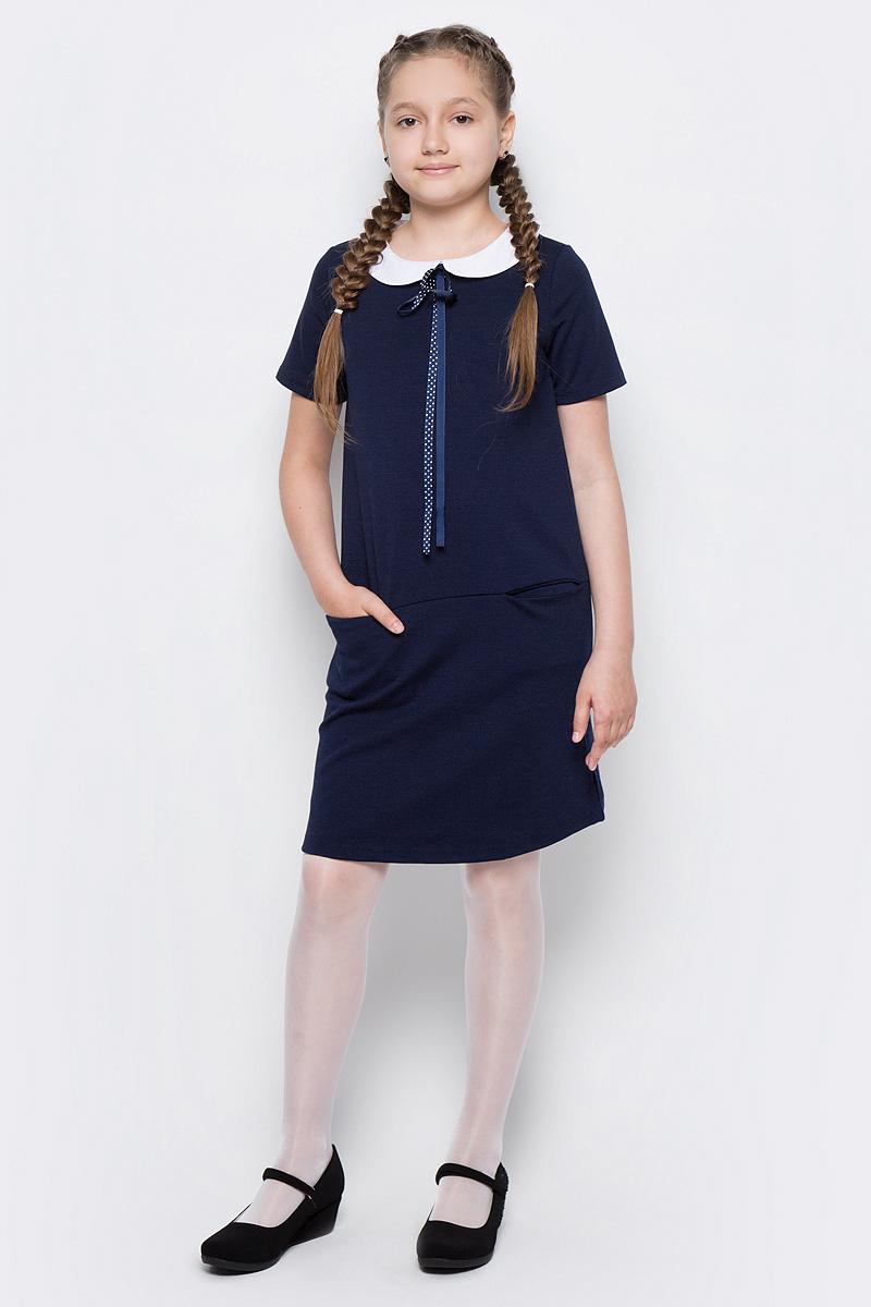 Платье для девочки Scool, цвет: темно-синий, белый. 374470. Размер 134, 9 лет374470Платье для девочки Scool выполнено из полиэстера, вискозы и эластана. Модель с круглым вырезом горловины и короткими рукавами застегивается сзади на молнию. Спереди расположены карманы. Платье дополнено съемным воротником на пуговицах. В качестве декора на изделии использован аккуратный бант из тонкой атласной ленты.