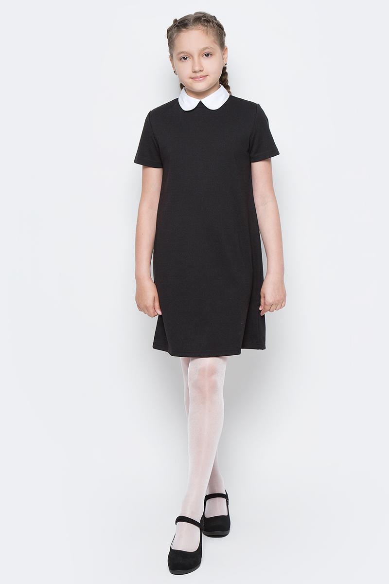 Платье для девочки Button Blue, цвет: черный. 217BBGS50010800. Размер 146, 11 лет217BBGS50010800Школьные платья делают образ ученицы серьезным и элегантным. Если вы хотите купить универсальную вещь и на каждый день, и для торжественного случая, вам стоит купить школьное платье. Трикотажное школьное платье для девочек обеспечит уют, свободу движений, удобство в повседневной носке. Белый воротник подчеркнет строгость модели и нежность ее обладательницы.