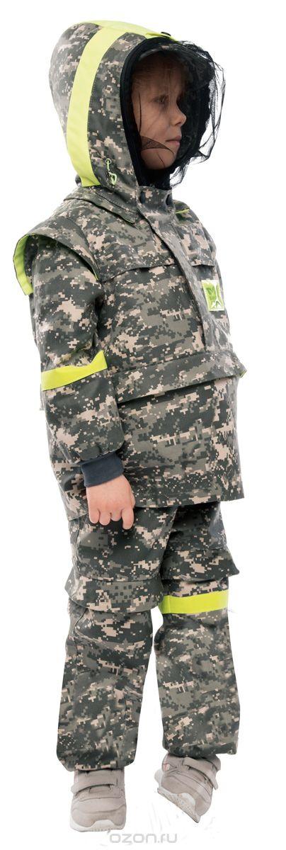 Костюм противоэнцефалитный детский Биостоп, с противомоскитной сеткой, цвет:  зеленый камуфляж.  04/0/07.  Размер 26-52/104