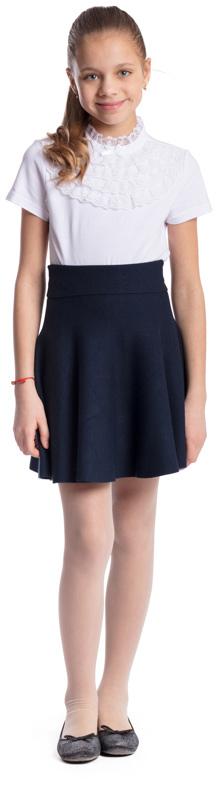 Блузка для девочки Scool, цвет: белый. 374501. Размер 146, 11 лет374501Блузка для девочки Scool выполнена из эластичного хлопка. Блузка с воротником-стойкой и короткими рукавами застегивается сзади на пуговицу. Модель декорирована кружевными вставками и атласным бантиком.