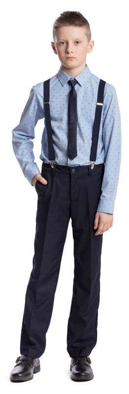 Брюки для мальчика Scool, цвет: темно-синий. 373430. Размер 122, 7 лет373430Брюки в деловом стиле Scool изготовлены из полиэстера и вискозы. Лекало этой модели брюк полностью повторяет лекало модели для взрослого мужчины.Брюки со стрелками застегиваются спереди на пуговицу, а также имеют ширинку на застежке-молнии. На поясе предусмотрены шлевки для ремня. Регулировка в поясе на эластичной тесьме с пуговицами обеспечит идеальную посадку по фигуре. Спереди расположены два втачных кармана, сзади - прорезной карман.