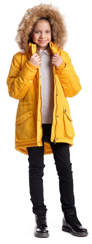 Куртка для девочки Scool, цвет: желтый. 374404. Размер 146, 11 лет374404Практичная утепленная куртка Scool изготовлена из ткани с водоотталкивающей пропиткой. Удлиненная куртка с капюшоном застегивается на молнию с защитой подбородка и дополнительно имеет внешнюю ветрозащитную планку на кнопках. Капюшон, декорированный съемной опушкой из искусственного меха, пристегивается к куртке с помощью молнии.Воротник и манжеты выполнены из мягкой трикотажной ткани. Спереди расположены два накладных кармана. На талии предусмотрен регулируемый шнурок-кулиска для дополнительного сохранения тепла.Светоотражающие элементы на рукаве и по низу изделия обеспечат безопасность ребенка в темное время суток.
