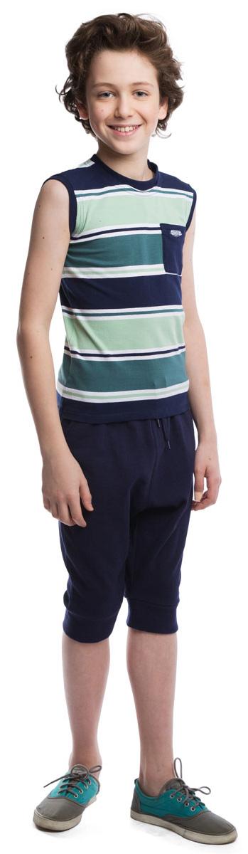 Майка для мальчика Scool, цвет: темно-синий, бирюзовый. 263015. Размер 146263015Стильная полосатая майка для мальчика подойдет как для занятий спортом, так и для повседневной носки. Круглый вырез горловины и проймы дополнены эластичной бейкой, создающей эффект многослойности. На груди расположен кармашек с аппликацией.