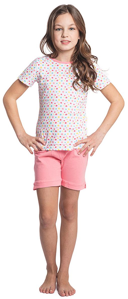 Пижама для девочки Scool, цвет: белый, розовый. 344048. Размер 134, 9 лет344048Пижама для девочки Scool, выполненная из эластичного хлопка, состоит из футболки и шорт. Футболка с круглым вырезом горловины и короткими рукавами оформлена принтом в горох. Шорты дополнены в поясе удобной резинкой с тесьмой для удобной посадки.