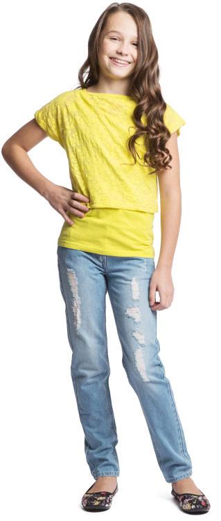 Футболка 2 в 1 для девочки Scool, цвет: желтый. 164065. Размер 140, 10 лет164065Яркая футболка 2 в 1 для девочки Scool станет отличным дополнением к гардеробу юной модницы. Модель состоит из двух предметов - топа и майки. Топ с эффектом вытравки выполнен из хлопка с добавлением полиэстера. Майка изготовлена из эластичного хлопка. Изделие очень мягкое и приятное на ощупь, не сковывает движения, хорошо пропускает воздух, обеспечивая максимальный комфорт.Топ с круглым вырезом горловины и короткими рукавами-кимоно имеет свободный крой. Рукава дополнены декоративными отворотами. Майка с круглым вырезом горловины и широкими бретелями имеет слегка приталенный крой.Дизайн и расцветка делают эту модель модным предметом детской одежды. В ней ваш ребенок всегда будет в центре внимания!