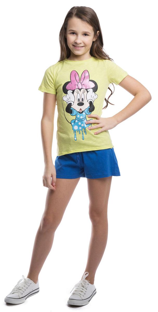 Футболка для девочки Scool, цвет: лимонный. 964001. Размер 158964001Легкая хлопковая футболка яркого цвета. Модель оформлена принтом с изображением Минни Маус, глиттерный бантик которой будет сверкать и переливаться на солнце.