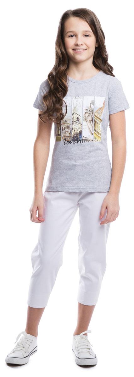 Футболка для девочки Scool, цвет: серый меланж. 264013. Размер 134264013Стильная хлопковая футболка с эластичной бейкой на воротнике. Универсальный цвет позволяет сочетать ее с любой одеждой. Модель оформлена резиновым фотопринтом с видами Парижа.