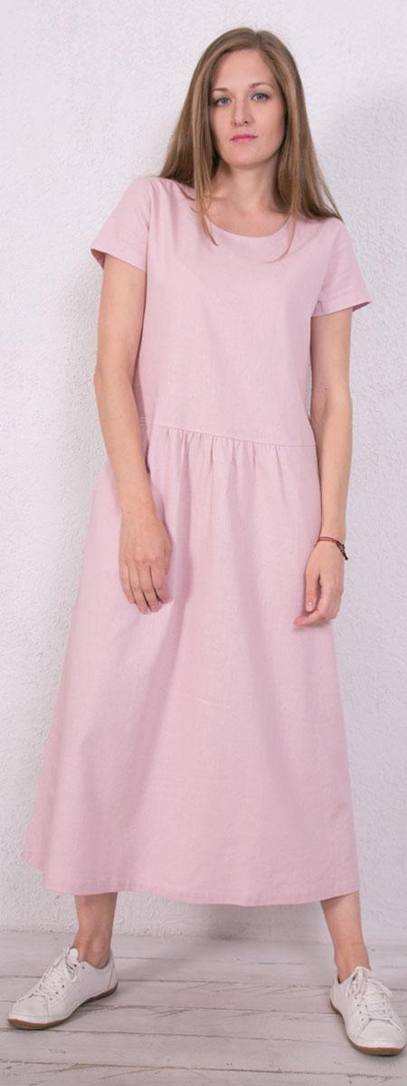 Платье домашнее Marusя, цвет: розовый. 171223. Размер 46171223Домашнее платье Marusя изготовлено из натурального льна. Изделие длины макси свободного кроя с короткими рукавами. Модель дополнена карманами.