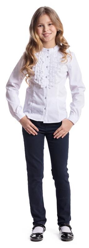 Блузка для девочки Scool, цвет: белый. 374450. Размер 122, 7 лет374450Блузка в классическом стиле Scool, выполненная из эластичного хлопка с добавлением полиэстера, станет отличным дополнением к школьному гардеробу. Блузка с воротником-стойкой и длинными рукавами застегивается на пуговицы. На рукавах предусмотрены манжеты. Модель декорирована рюшами.