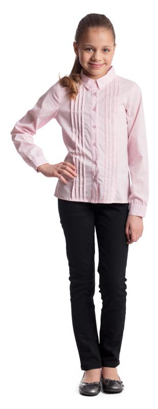 Блузка для девочки Scool, цвет: светло-розовый. 374454. Размер 128, 8 лет374454Элегантная блузка для девочки Scool, выполненная из эластичного хлопка с добавлением полиэстера, станет отличным дополнением к школьному гардеробу. Блузка с отложным воротником и длинными рукавами застегивается на пуговицы. На рукавах предусмотрены манжеты. Передняя часть этой модели декорирована россыпью стразов и складками по всей длине изделия.