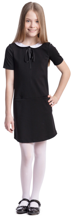 Платье для девочки Scool, цвет: черный, белый. 374469. Размер 146, 11 лет374469Платье для девочки Scool выполнено из полиэстера, вискозы и эластана. Модель с круглым вырезом горловины и короткими рукавами застегивается сзади на молнию. Спереди расположены карманы. Платье дополнено съемным воротником на пуговицах. В качестве декора на изделии использован аккуратный бант из тонкой атласной ленты.