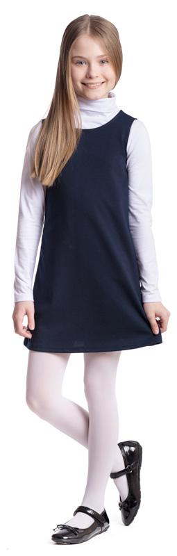 Сарафан для девочки Scool, цвет: темно-синий. 374475. Размер 140, 10 лет374475Сарафан для девочки Scool выполнен из полиэстера, вискозы и эластана. Модель с круглым вырезом горловины застегивается по спинке на молнию. Удобный практичный сарафан в деловом стиле подойдет для официальных и праздничных мероприятий, а также сможет быть одной из базовых вещей школьного гардероба ребенка.