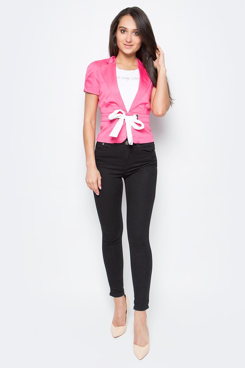 Жакет жен oodji Ultra, цвет: ярко-розовый. 11200232-2/14522/4D00N. Размер 38-170 (44-170)11200232-2/14522/4D00NЖакет
