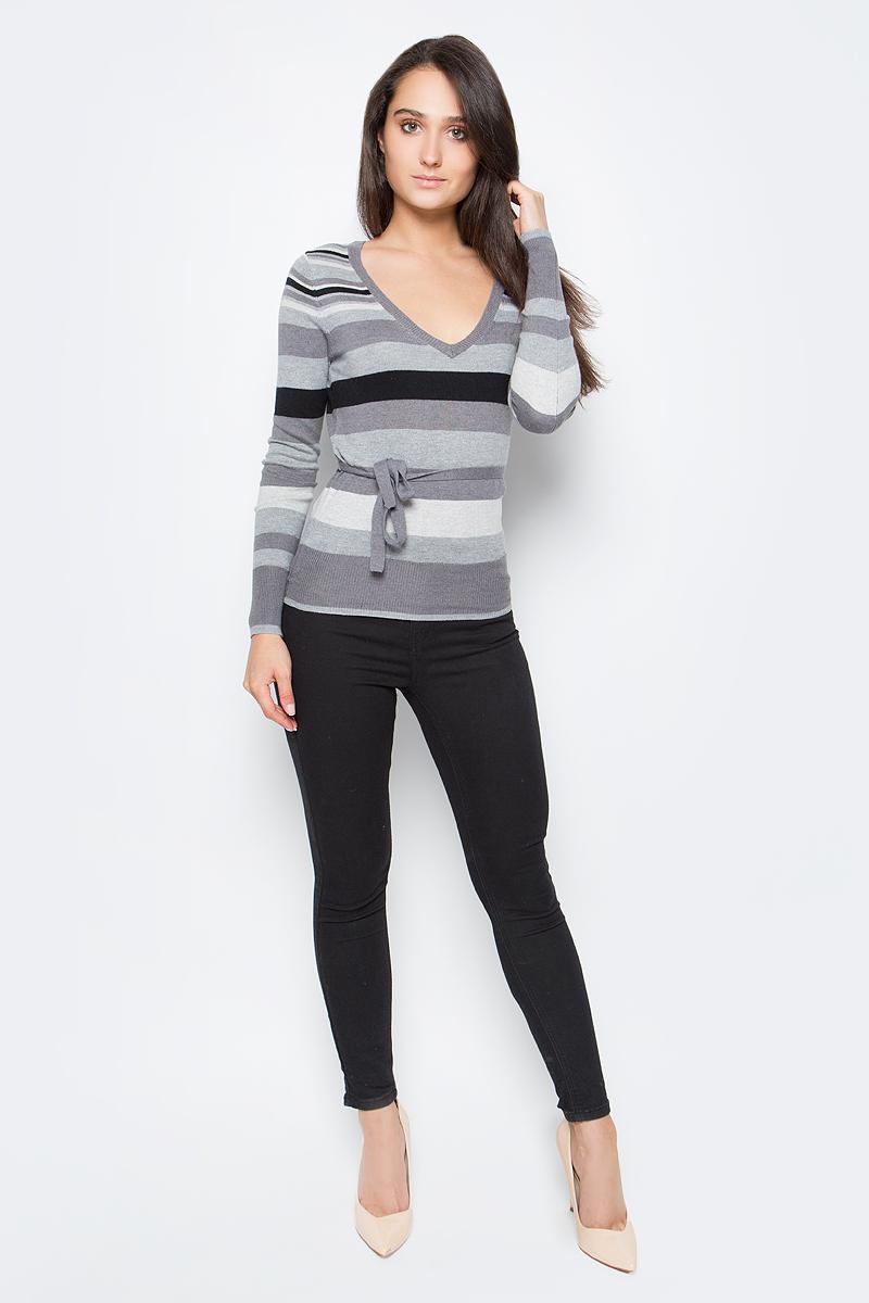 Джемпер жен oodji Collection, цвет: серый меланж, черный, полоски. 73810001-1/24282/2429S. Размер 36 (42)73810001-1/24282/2429SДжемпер