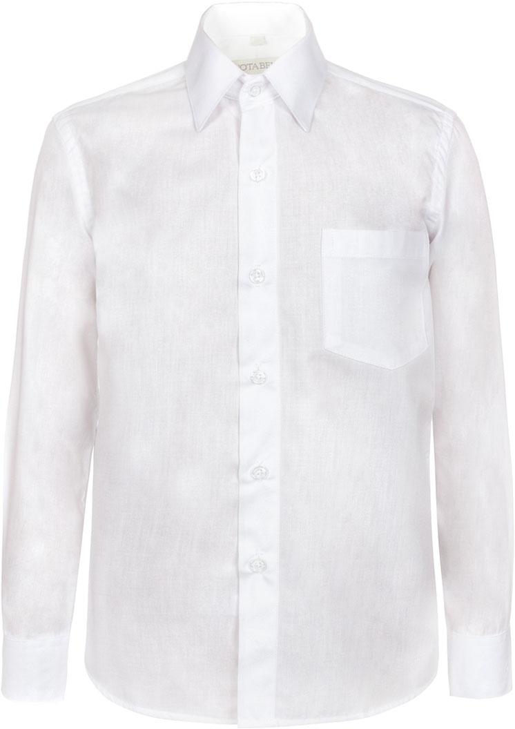 Рубашка для мальчика Nota Bene, цвет: белый. TC2DA01. Размер 122TC2DA01/TC2DB01Рубашка для мальчика Nota Bene выполнена из высококачественного хлопкового материала. Модель с классическим отложным воротником и длинными рукавами застегивается на пуговицы, на груди дополнена накладным карманом.
