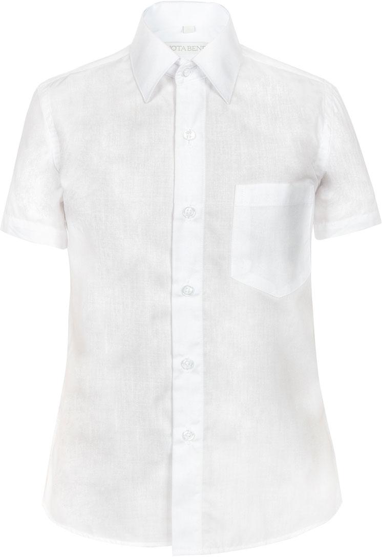 Рубашка для мальчика Nota Bene, цвет: белый. TC2DSPRB01. Размер 146TC2DSPRA01/TC2DSPRB01Рубашка для мальчика Nota Bene приталенного силуэта выполнена из высококачественного хлопкового материала. Модель с классическим отложным воротником и короткими рукавами застегивается на пуговицы, на груди дополнена накладным карманом.