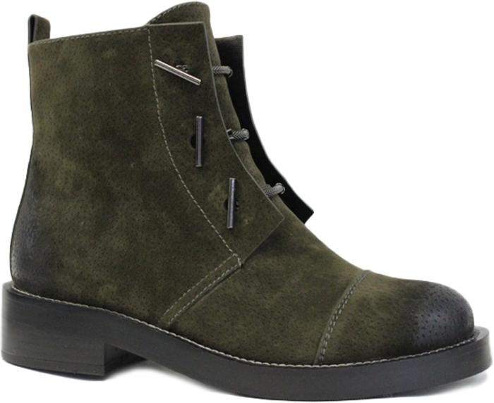 Ботинки женские LK Collection, цвет: хаки. SP-FA3501-1 (SP-336-F31-4). Размер 40SP-FA3501-1 (SP-336-F31-4)Стильные женские ботинки от LK Collection заинтересуют вас своим дизайном с первого взгляда. Модель изготовлена из качественного нубука. Эластичные шнурки надежно зафиксируют обувь на ноге. Стелька и подкладка, изготовленные из натуральной кожи, обеспечат комфорт. Подошва и небольшой каблук с рифлением гарантируют отличное сцепление с различными поверхностями. Модные ботинки покорят вас своим оригинальным дизайном и удобством.