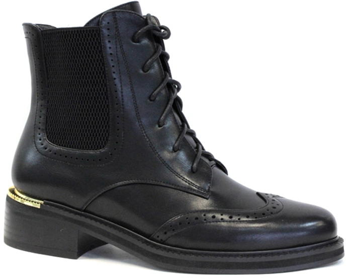 Ботинки женские LK Collection, цвет: черный. SP-WA0101-1 (SP-13-W35-1). Размер 39SP-WA0101-1 (SP-13-W35-1)Женские ботинки LK Collection заинтересуют вас своим дизайном с первого взгляда. Модель изготовлена из полиуретана и дополнена декоративной перфорацией. Обувь фиксируется на ноге при помощи классической шнуровки и застежки-молнии сбоку. Стелька и подкладка, изготовленные из натуральной кожи, обеспечат комфорт. Подошва и небольшой каблук с рифлением гарантируют отличное сцепление с различными поверхностями. Модные ботинки покорят вас своим оригинальным дизайном и удобством.