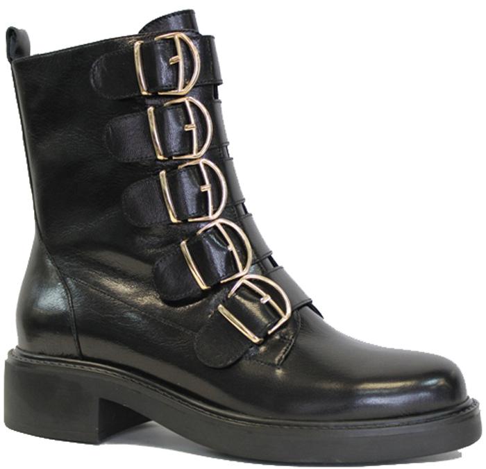 Ботинки женские Graciana, цвет: черный. W2338-7Y10-1. Размер 39W2338-7Y10-1Оригинальные ботинки от Graciana заинтересуют вас своим дизайном с первого взгляда! Модель выполнена из натуральной гладкой кожи. Подъем оформлен декоративными ремешками с металлическими пряжками. Стелька, выполненная из кожи, обеспечит ногам комфорт. Ботинки застегиваются на застежку-молнию, расположенную на одной из боковых сторон. Невысокий каблук и подошва с рельефным протектором обеспечивают отличное сцепление на любой поверхности. Модные ботинки покорят вас своим оригинальным дизайном и удобством!