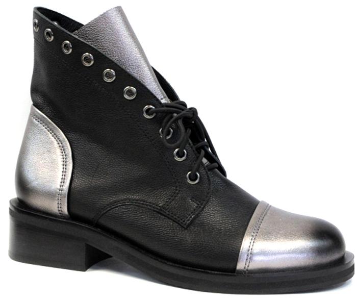 Ботинки женские Graciana, цвет: черный. W2600-6L34-1. Размер 38W2600-6L34-1Оригинальные ботинки от Graciana заинтересуют вас своим дизайном с первого взгляда! Модель выполнена из натуральной кожи контрастных цветов и оформлена люверсами. Подъем дополнен шнуровкой. Стелька, выполненная из кожи, обеспечит ногам комфорт. Невысокий каблук и подошва с рельефным протектором обеспечивают отличное сцепление на любой поверхности. Модные ботинки покорят вас своим оригинальным дизайном и удобством!