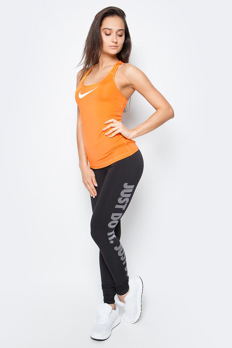Тайтсы женские Nike Dry Training Tight, цвет: черный. 830558-010. Размер XL (48/50)830558-010Женские тайтсы от Nike выполнены из функционального материала Dri-FIT, который обеспечивает комфорт. Вставка в области шагового шва увеличивает диапазон движений, отвороты с плотной посадкой позволяют полностью сконцентрироваться на спорте.