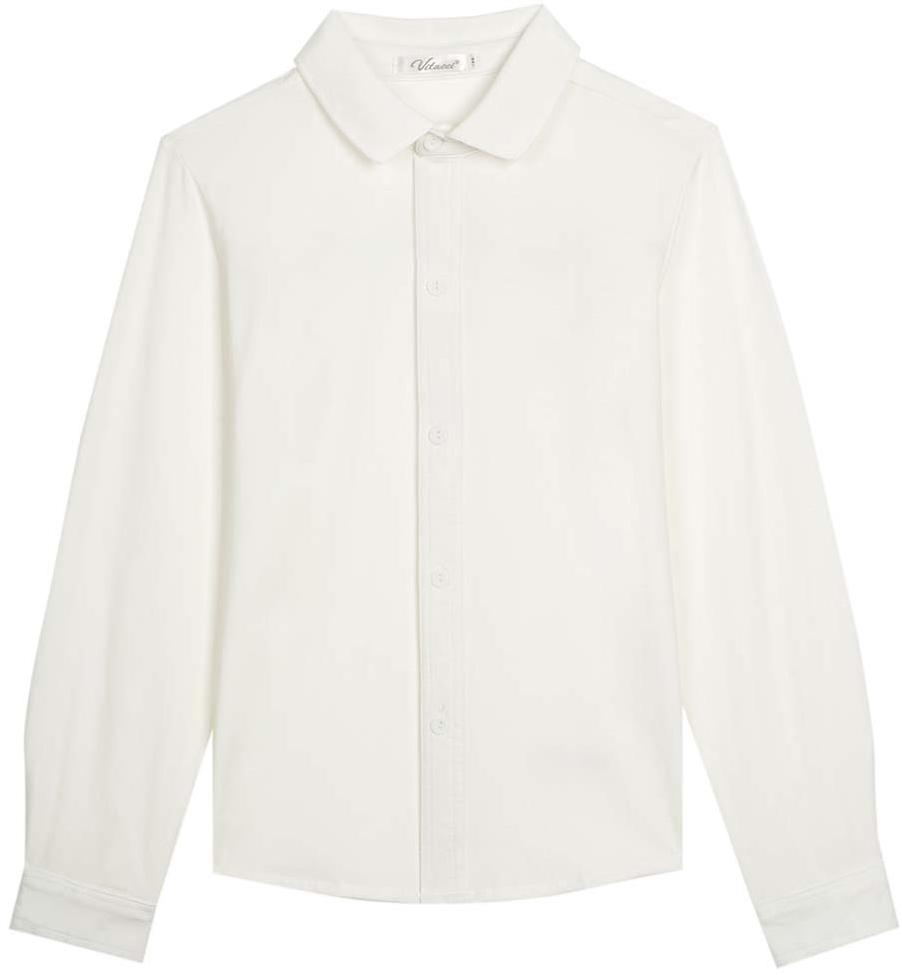 Рубашка для мальчика Vitacci, цвет: белый. 1173011M-01. Размер 1641173011M-01Рубашка для мальчика выполнена из качественного материала. Модель с отложным воротником и длинными рукавами застегивается на пуговицы.
