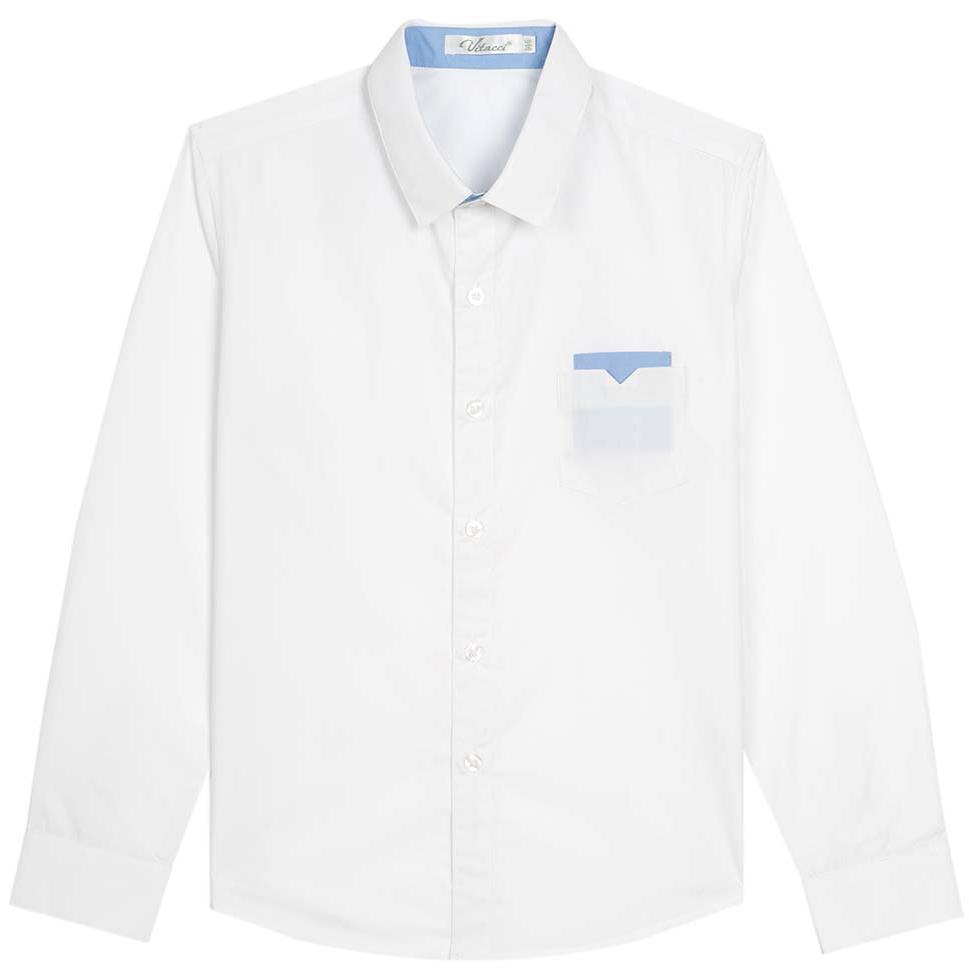 Рубашка для мальчика Vitacci, цвет: белый. 1173016М-01. Размер 1761173016-01/1173016М-01Рубашка для мальчика выполнена из хлопка и спандекса. Модель с отложныи воротником и длинными рукавами.