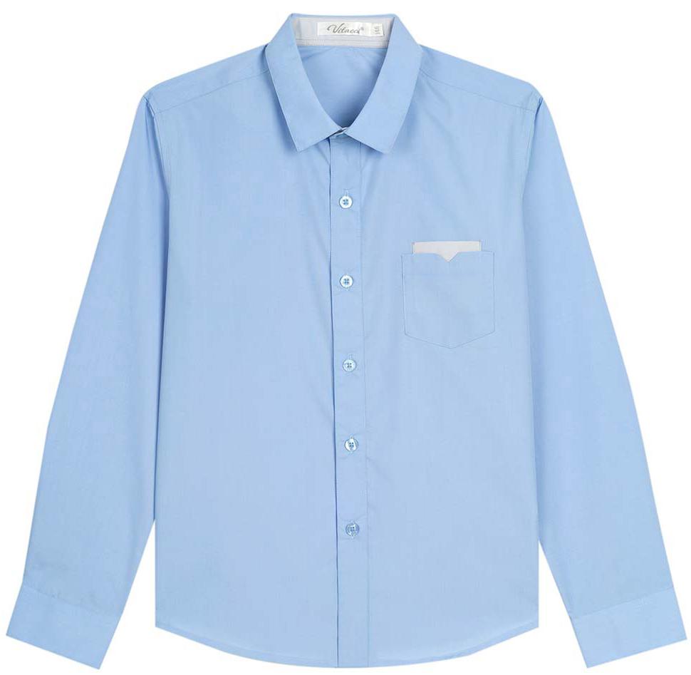 Рубашка для мальчика Vitacci, цвет: голубой. 1173016-10. Размер 1341173016-10/1173016М-10Рубашка для мальчика выполнена из хлопка и спандекса. Модель с отложныи воротником и длинными рукавами.
