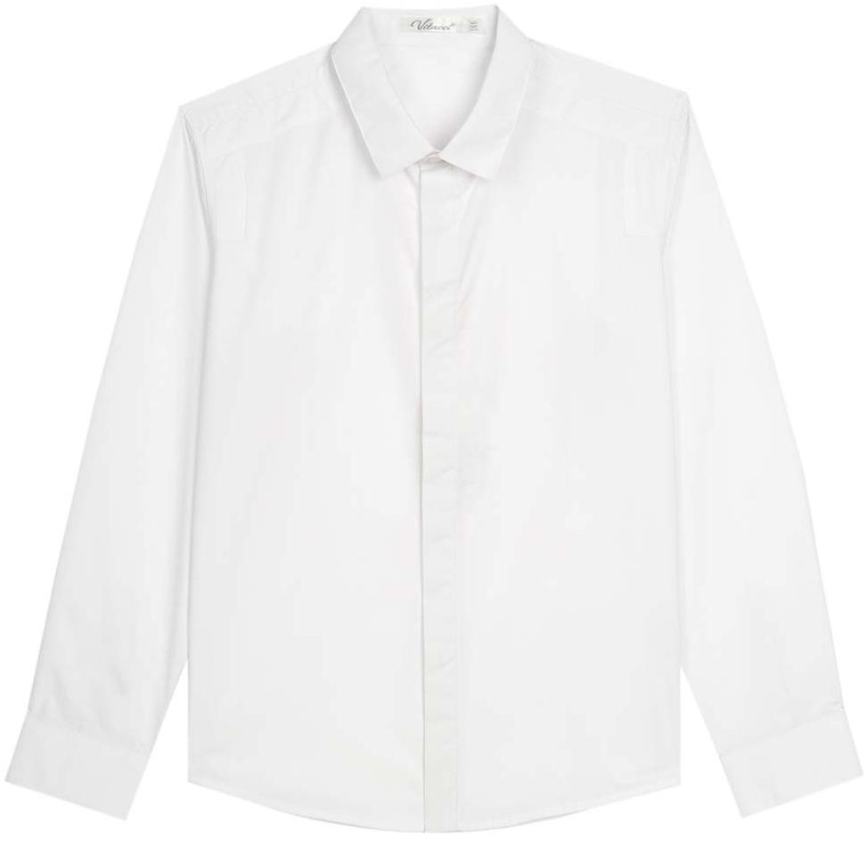 Рубашка для мальчика Vitacci, цвет: белый. 1173017М-01. Размер 1521173017-01/1173017М-01Рубашка для мальчика выполнена из хлопка и спандекса. Модель с отложным воротником и длинными рукавами застегивается на пуговицы.
