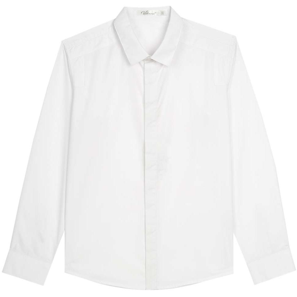 Рубашка для мальчика Vitacci, цвет: белый. 1173017М-01. Размер 1641173017М-01Рубашка для мальчика выполнена из хлопка и спандекса. Модель с отложным воротником и длинными рукавами застегивается на пуговицы.