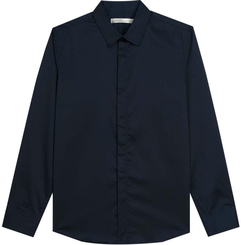 Рубашка для мальчика Vitacci, цвет: темно-синий. 1173018-04. Размер 1401173018-04Рубашка для мальчика выполнена из хлопка и полиэстера. Модель с отложным воротником и длинными рукавами застегивается на пуговицы.