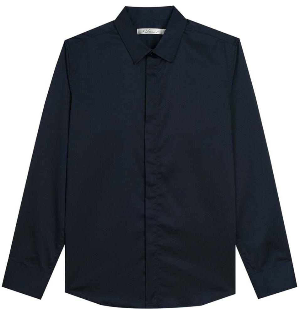 Рубашка для мальчика Vitacci, цвет: темно-синий. 1173018-04. Размер 1281173018М-04/1173018-04Рубашка для мальчика выполнена из хлопка и полиэстера. Модель с отложным воротником и длинными рукавами застегивается на пуговицы.
