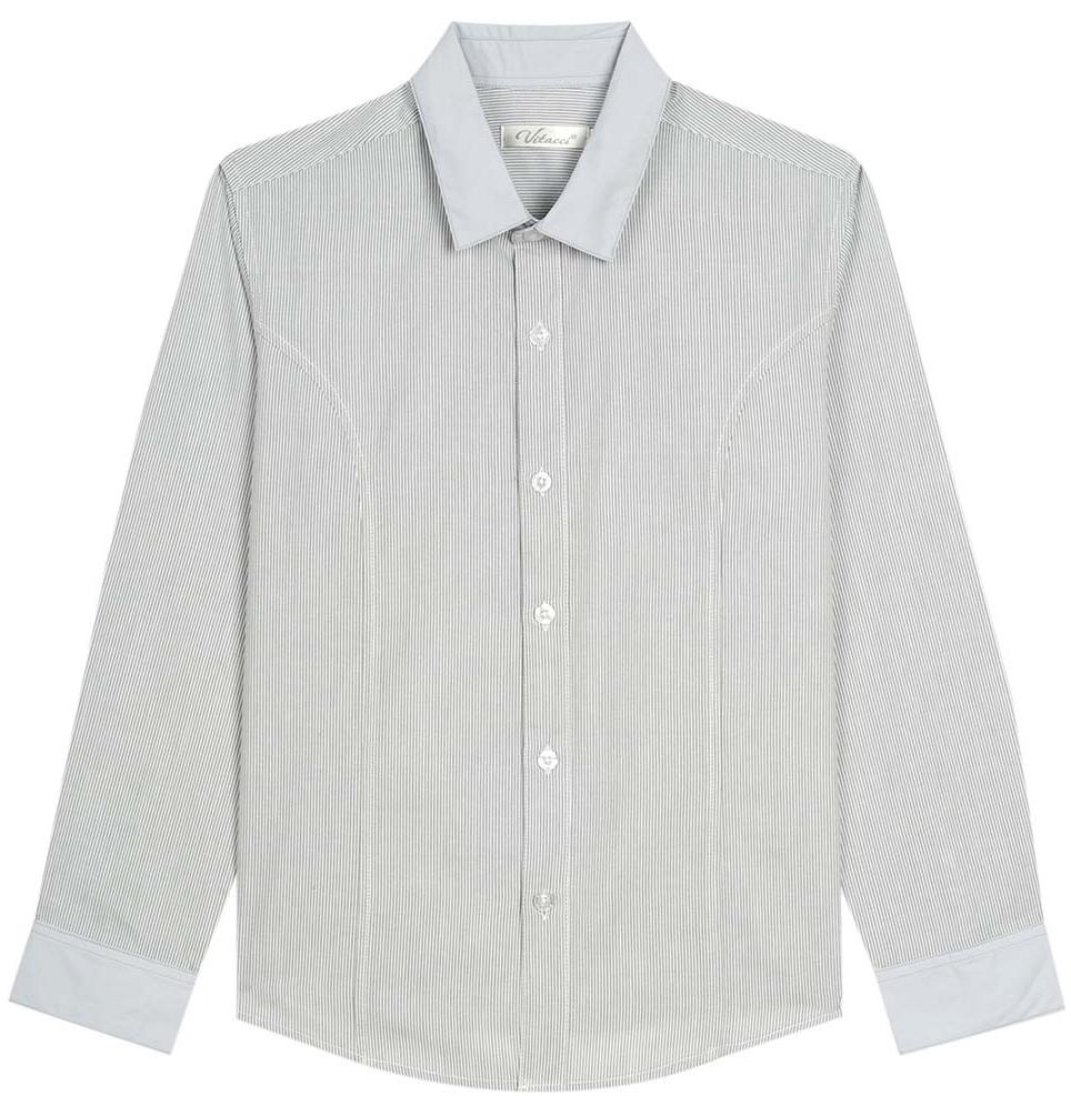 Рубашка для мальчика Vitacci, цвет: серый. 1173020М-02. Размер 1761173020-02/1173020М-02Рубашка для мальчика выполнена из хлопка и полиэстера. Модель с длинными рукавами застегивается на пуговицы.