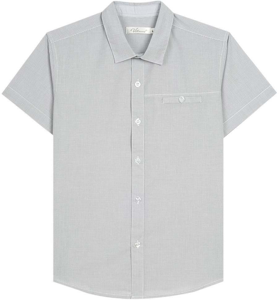Рубашка для мальчика Vitacci, цвет: серый. 1173027-02. Размер 1461173027-02Рубашка для мальчика выполнена из хлопка. Модель с отложным воротником и короткими рукавами застегивается на пуговицы.