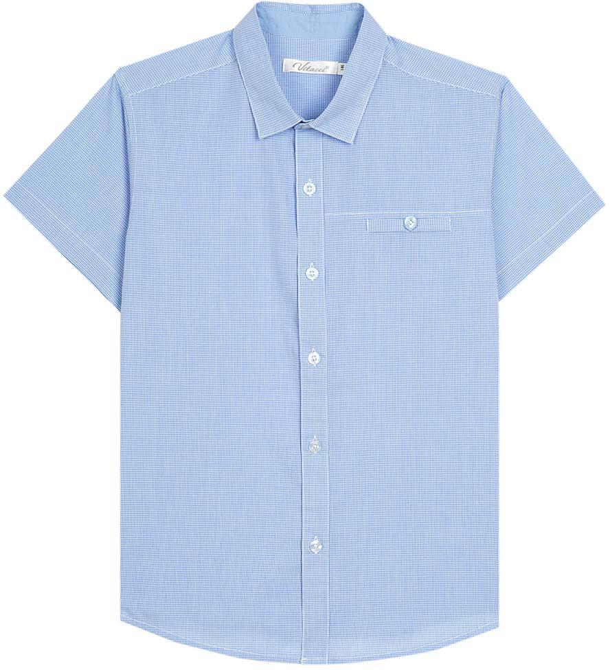 Рубашка для мальчика Vitacci, цвет: голубой. 1173027-10. Размер 1281173027-10/1173027М-10Рубашка для мальчика выполнена из хлопка. Модель с отложным воротником и короткими рукавами застегивается на пуговицы.