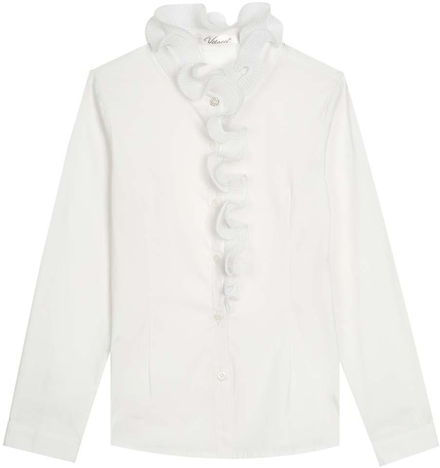 Блузка для девочки Vitacci, цвет: белый. 2173010-01. Размер 1402173010-01Школьная блузка для девочки из выполнена их хлопка и эластана. Модель с длинными рукавами застегивается на пуговицы.