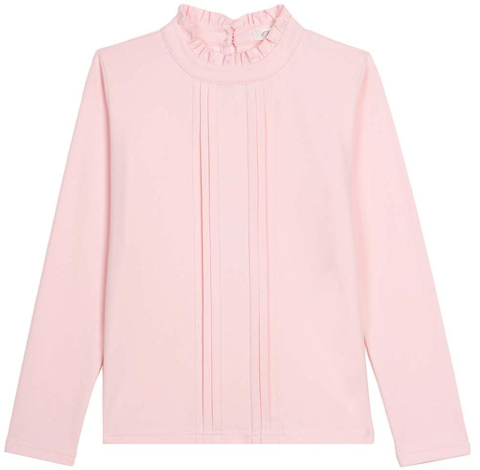 Блузка для девочки Vitacci, цвет: розовый. 2173056-11. Размер 1402173056-11Классическая школьная блузка для девочки выполнена из хлопка и спандекса. Модель с воротником стойкой и длинными рукавами.