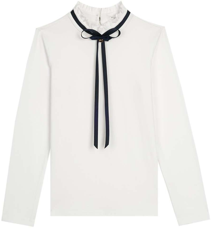 Блузка для девочки Vitacci, цвет: белый. 2173058L-01. Размер 1522173058L-01Классическая школьная блузка для девочки выполнена из качественного материала. Модель с воротником стойка и длинными рукавами.