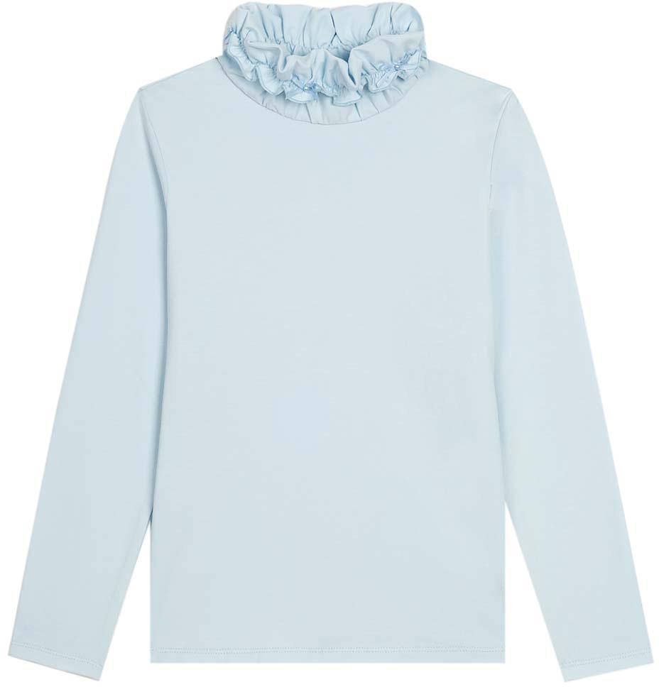Водолазка для девочки Vitacci, цвет: голубой. 2173087-10. Размер 1462173087-10Водолазка для девочки выполнена из хлопка и эластана. Модель с длинными рукавами.
