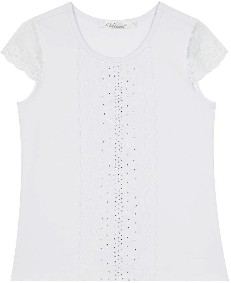 Блузка для девочки Vitacci, цвет: белый. 2173207-01. Размер 1522173207-01Блузка для девочки выполнена из хлопка и спандекса. Модель с круглым вырезом горловины и короткими рукавами.