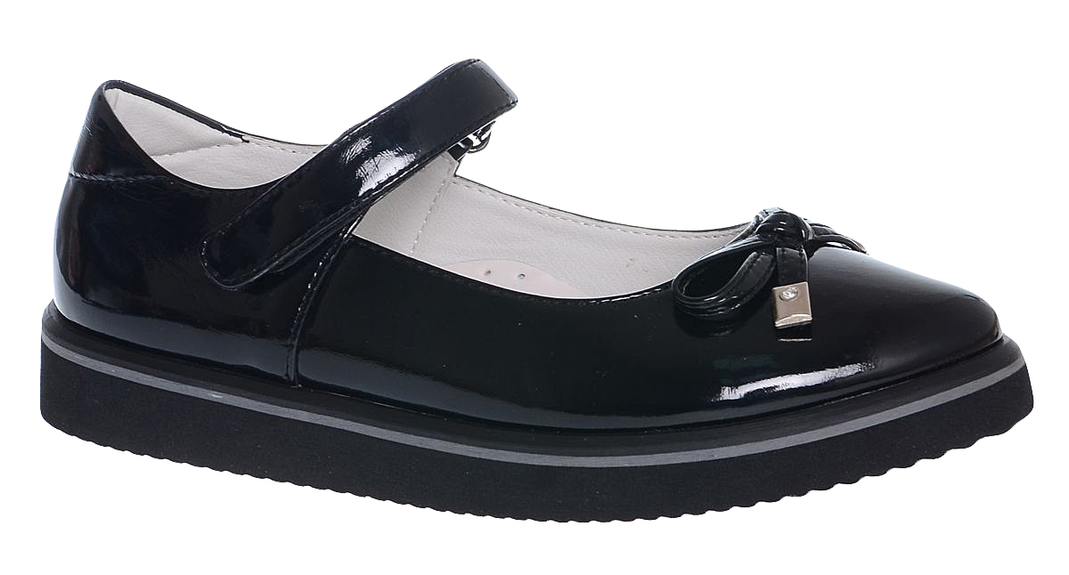Туфли для девочки Болеро, цвет: черный. D13378A. Размер 37D13378AОчаровательные туфли для девочки Болеро станут неотъемлемой частью повседневной жизни юной модницы.Модель выполнена из искусственной лакированной кожи и оформлена небольшим бантиком. Внутренняя отделка выполнена из натуральной кожи. Удобная застежка-липучка быстро и надежно фиксирует обувь на ноге ребенка, а формованный задник обеспечивает правильную установку стопы внутри туфель, предотвращая развитие деформаций.Стелька с супинатором, изготовленная из натуральной кожи, учитывает анатомические особенности строения детской стопы, обеспечивает профилактику от развития плоскостопия и гарантирует ногам ребенка ощущение комфорта и легкости при ходьбе.Толстая рифленая подошва из легкого полимерного термопластичного материала обладает высокой прочностью и гибкостью и обеспечивает надежное сцепление с различными поверхностями.