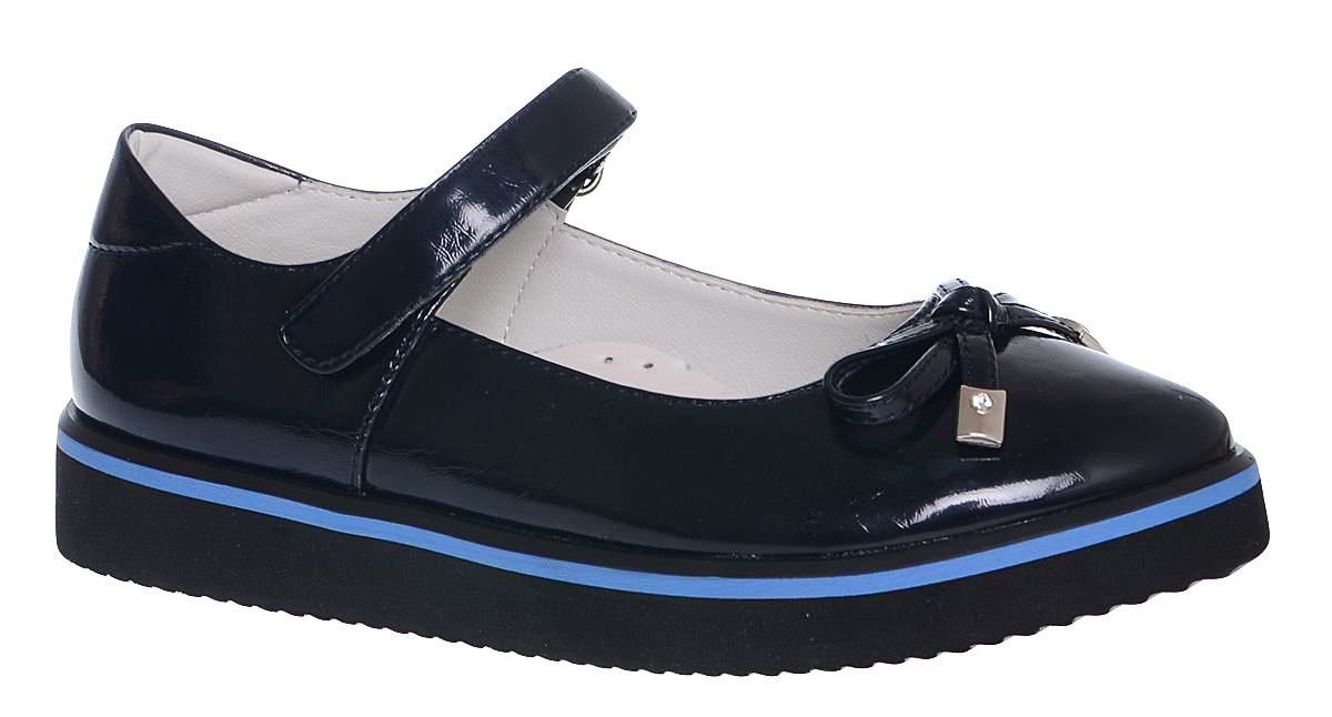Туфли для девочки Болеро, цвет: темно-синий. D13378B. Размер 33D13378BОчаровательные туфли для девочки Болеро станут неотъемлемой частью повседневной жизни юной модницы.Модель выполнена из искусственной лакированной кожи и оформлена небольшим бантиком. Внутренняя отделка выполнена из натуральной кожи. Удобная застежка-липучка быстро и надежно фиксирует обувь на ноге ребенка, а формованный задник обеспечивает правильную установку стопы внутри туфель, предотвращая развитие деформаций.Стелька с супинатором, изготовленная из натуральной кожи, учитывает анатомические особенности строения детской стопы, обеспечивает профилактику от развития плоскостопия и гарантирует ногам ребенка ощущение комфорта и легкости при ходьбе.Толстая рифленая подошва из легкого полимерного термопластичного материала обладает высокой прочностью и гибкостью и обеспечивает надежное сцепление с различными поверхностями.