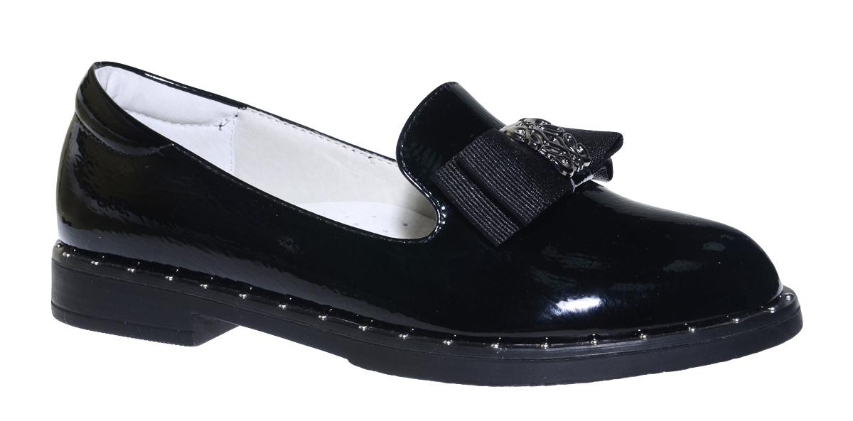 Туфли для девочки Болеро, цвет: черный. D17111. Размер 33D17111Очаровательные туфли для девочки Болеро, стилизованные под лоферы, станут неотъемлемой частью повседневной жизни юной модницы.Модель выполнена из искусственной лакированной кожи и оформлена небольшим бантиком. Внутренняя отделка выполнена из натуральной кожи. Формованный задник обеспечивает правильную установку стопы внутри туфель, предотвращая развитие деформаций.Стелька с супинатором, изготовленная из натуральной кожи, учитывает анатомические особенности строения детской стопы, обеспечивает профилактику от развития плоскостопия и гарантирует ногам ребенка ощущение комфорта и легкости при ходьбе.Рифленая подошва с широким каблуком из легкого полимерного термопластичного материала обладает высокой прочностью и гибкостью и обеспечивает надежное сцепление с различными поверхностями.