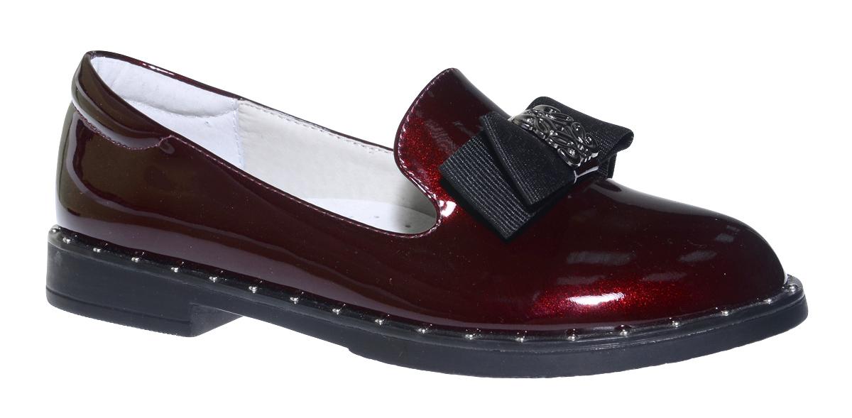 Туфли для девочки Болеро, цвет: бордовый. D17111B. Размер 33D17111BОчаровательные туфли для девочки Болеро, стилизованные под лоферы, станут неотъемлемой частью повседневной жизни юной модницы.Модель выполнена из искусственной лакированной кожи и оформлена небольшим бантиком. Внутренняя отделка выполнена из натуральной кожи. Формованный задник обеспечивает правильную установку стопы внутри туфель, предотвращая развитие деформаций.Стелька с супинатором, изготовленная из натуральной кожи, учитывает анатомические особенности строения детской стопы, обеспечивает профилактику от развития плоскостопия и гарантирует ногам ребенка ощущение комфорта и легкости при ходьбе.Рифленая подошва с широким каблуком из легкого полимерного термопластичного материала обладает высокой прочностью и гибкостью и обеспечивает надежное сцепление с различными поверхностями.