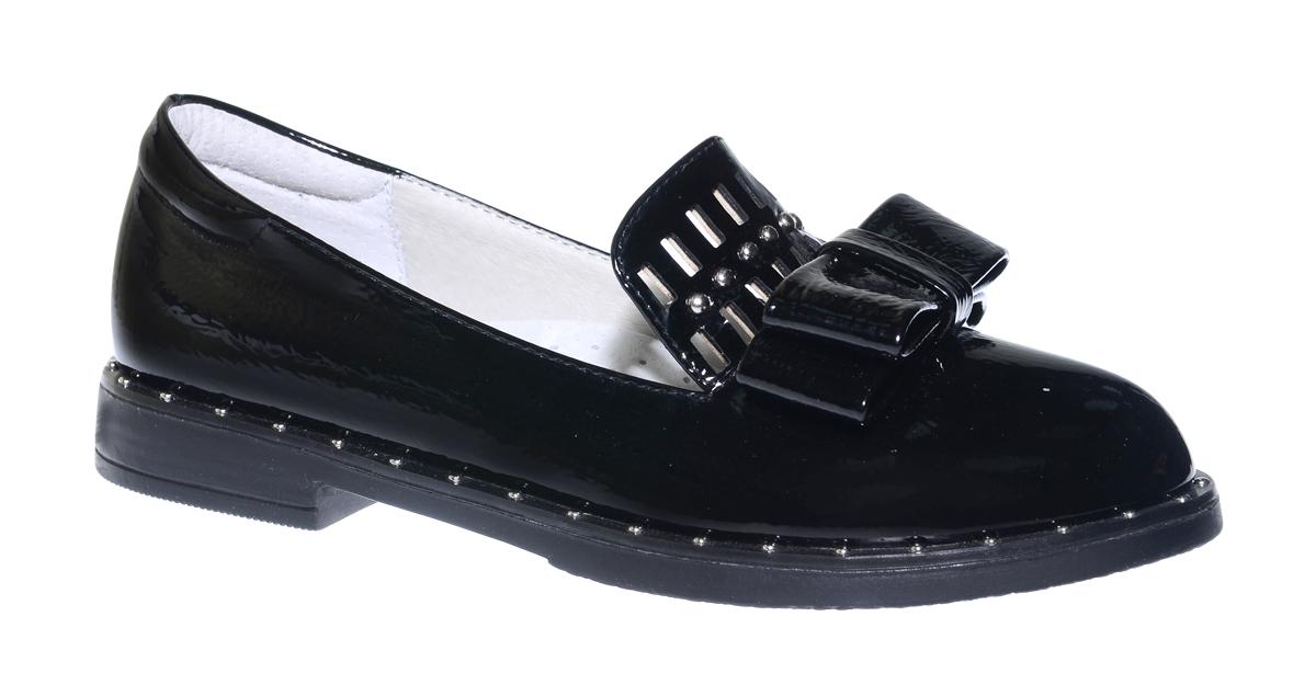 Туфли для девочки Болеро, цвет: черный. D17112. Размер 36D17112Очаровательные туфли для девочки Болеро, стилизованные под лоферы, станут неотъемлемой частью повседневной жизни юной модницы.Модель выполнена из искусственной лакированной кожи и оформлена небольшим бантиком и перфорацией. Внутренняя отделка выполнена из натуральной кожи. Формованный задник обеспечивает правильную установку стопы внутри туфель, предотвращая развитие деформаций.Стелька с супинатором, изготовленная из натуральной кожи, учитывает анатомические особенности строения детской стопы, обеспечивает профилактику от развития плоскостопия и гарантирует ногам ребенка ощущение комфорта и легкости при ходьбе.Рифленая подошва с широким каблуком из легкого полимерного термопластичного материала обладает высокой прочностью и гибкостью и обеспечивает надежное сцепление с различными поверхностями.