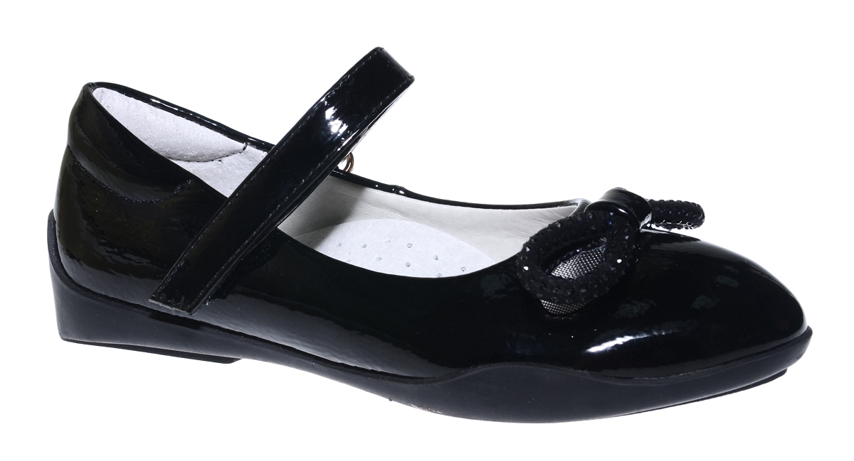 Туфли для девочки Болеро, цвет: черный. G17002. Размер 28G17002Очаровательные туфли для девочки Болеро станут неотъемлемой частью повседневной жизни юной модницы.Модель выполнена из искусственной лакированной кожи и оформлена перфорацией, бантиком и стразами. Внутренняя отделка выполнена из натуральной кожи. Удобная застежка-липучка быстро и надежно фиксирует обувь на ноге ребенка, а формованный задник обеспечивает правильную установку стопы внутри туфель, предотвращая развитие деформаций.Стелька с супинатором, изготовленная из натуральной кожи, учитывает анатомические особенности строения детской стопы, обеспечивает профилактику от развития плоскостопия и гарантирует ногам ребенка ощущение комфорта и легкости при ходьбе.Рифленая подошва из легкого полимерного термопластичного материала обладает высокой прочностью и гибкостью и обеспечивает надежное сцепление с различными поверхностями.